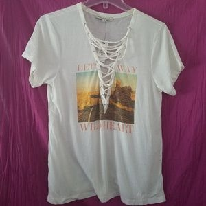 NWT Express One Eleven Lace-up Graphic T-shirt